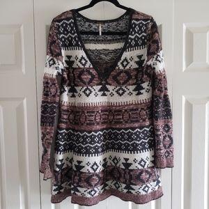 Free People Medium Aztec Tribal V Neck Sweater